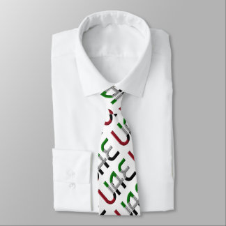 UAE United Arab Emirates Flag Typography Pattern Tie