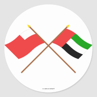 UAE y banderas cruzadas Abu Dhabi Etiquetas