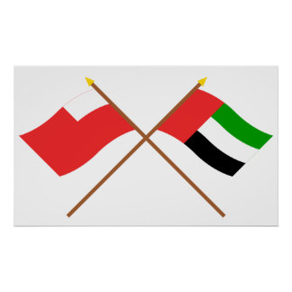UAE y banderas cruzadas Abu Dhabi Póster