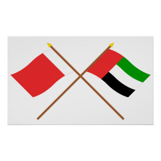 UAE y banderas cruzadas Ajman Poster