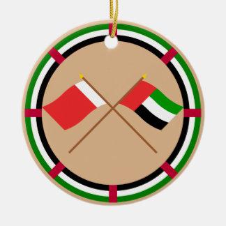 UAE y banderas cruzadas Dubai Adorno Redondo De Cerámica