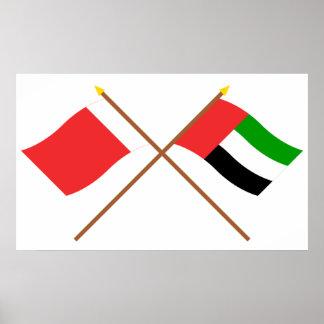 UAE y banderas cruzadas Dubai Poster