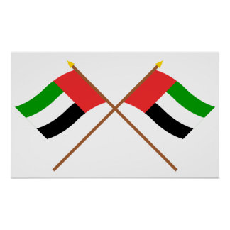 UAE y banderas cruzadas Fudjairah Poster