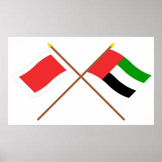 UAE y banderas cruzadas Ras Al Khaimah Póster