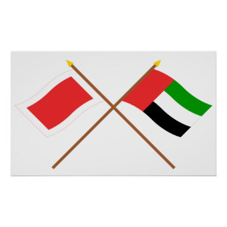 UAE y banderas cruzadas Sharja Poster