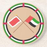 UAE y banderas cruzadas Sharja Posavasos Personalizados