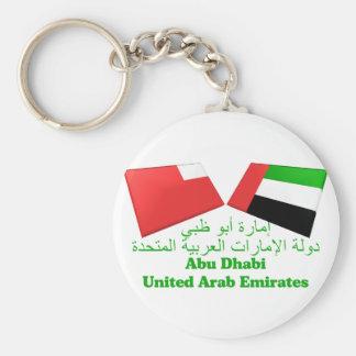 UAE y tejas de la bandera de Abu Dhabi Llavero Redondo Tipo Pin