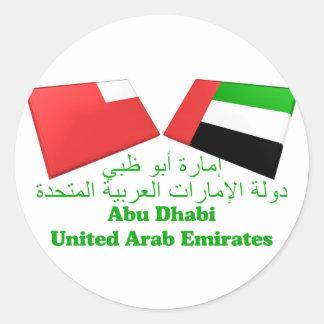 UAE y tejas de la bandera de Abu Dhabi Pegatina Redonda
