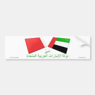 UAE y tejas de la bandera de Dubai Etiqueta De Parachoque