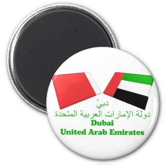 UAE y tejas de la bandera de Dubai Imán Redondo 5 Cm