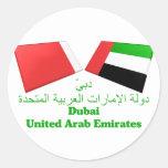 UAE y tejas de la bandera de Dubai Etiquetas Redondas