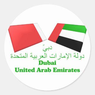 UAE y tejas de la bandera de Dubai Pegatina Redonda