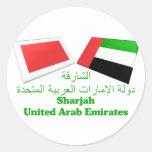 UAE y tejas de la bandera de Sharja Pegatina Redonda