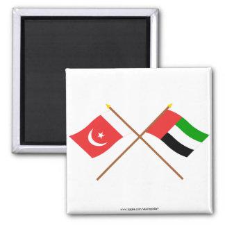 UAE y Umm banderas cruzadas al-Quwain Iman De Frigorífico
