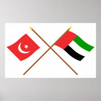 UAE y Umm banderas cruzadas al-Quwain Póster