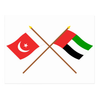 UAE y Umm banderas cruzadas al-Quwain Postal