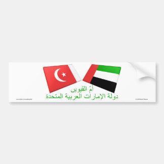 UAE y Umm tejas de la bandera del al-Quwain Pegatina De Parachoque