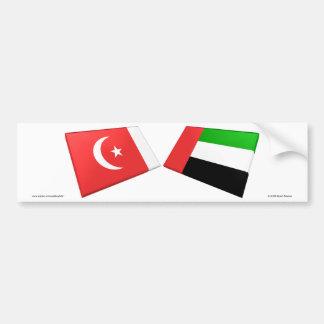 UAE y Umm tejas de la bandera del al-Quwain Etiqueta De Parachoque