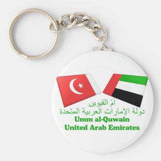 UAE y Umm tejas de la bandera del al-Quwain Llavero Redondo Tipo Pin