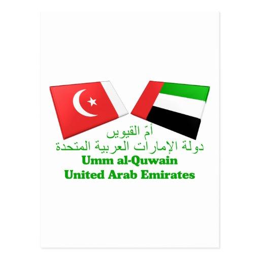 UAE y Umm tejas de la bandera del al-Quwain Postales