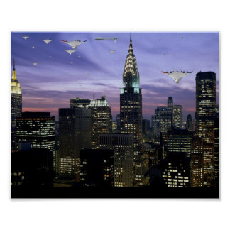 UAVs Over New York Poster
