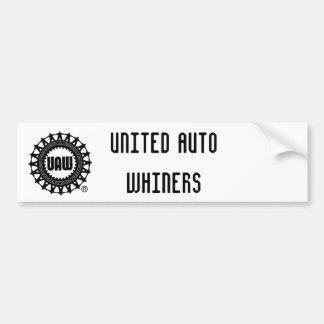 uaw, WHINERS AUTOS UNIDOS Etiqueta De Parachoque