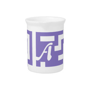 Ube and White Maze Monogram Beverage Pitcher