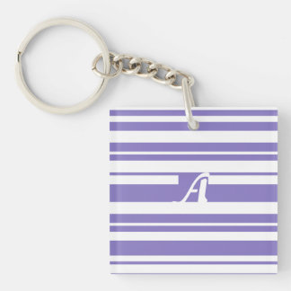 Ube and White Random Stripes Monogram Keychain