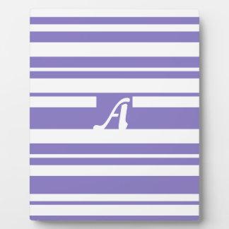 Ube and White Random Stripes Monogram Display Plaques