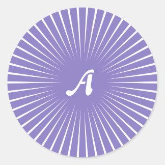 Ube and White Sunrays Monogram Round Sticker