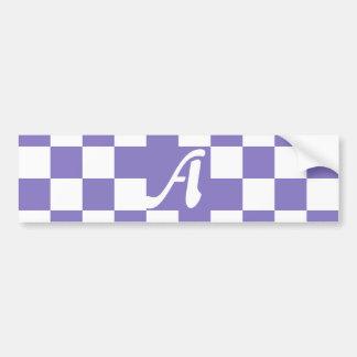 Ube y monograma a cuadros blanco pegatina para auto