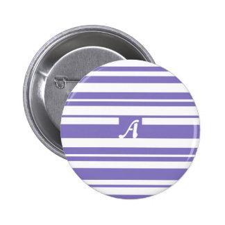 Ube y monograma al azar blanco de las rayas chapa redonda 5 cm