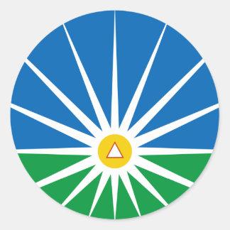 Uberlandia Minasgerais Brasil, Brazil flag Round Stickers