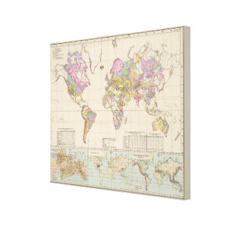 Ubersicht der Erde - Overview of the Earth Map Canvas Print