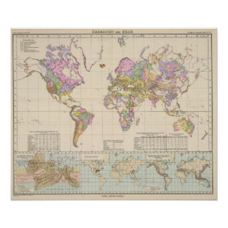 Ubersicht der Erde - Overview of the Earth Map Poster