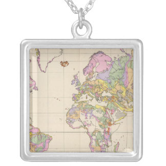 Ubersicht der Erde - Overview of the Earth Map Square Pendant Necklace