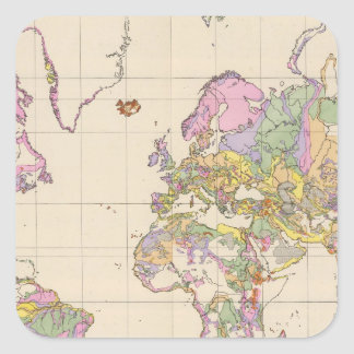 Ubersicht der Erde - Overview of the Earth Map Square Sticker