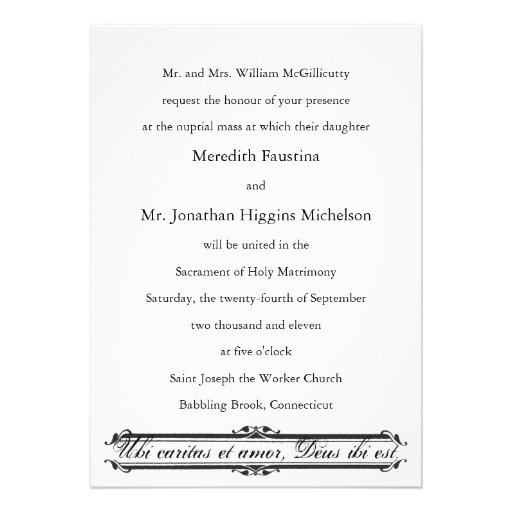 Ubi Caritas et Amor Catholic Wedding Invitation