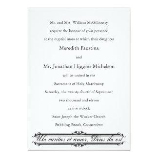 "Ubi Caritas et Amor Catholic Wedding Invitation 5"" X 7"" Invitation Card"