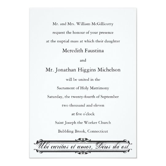 Ubi Caritas Et Amor Catholic Wedding Invitation Zazzle Com