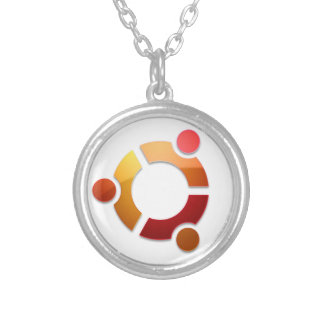 Ubuntu Linux Circle of Friends Logo Silver Plated Necklace