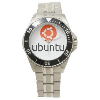 Ubuntu Linux Logo with Tux Wrist Watch