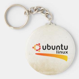 Ubuntu Linux Open Source Basic Round Button Keychain