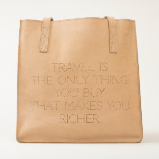 Ubuntu Made Travel Quote Leather Tote