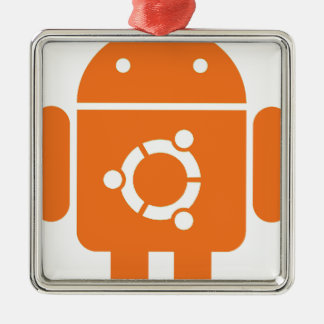 Ubuntudroid del código de la camiseta de Ubuntu Adorno Navideño Cuadrado De Metal