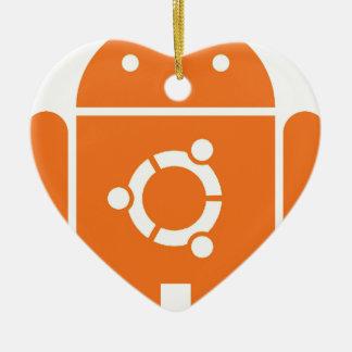 Ubuntudroid del código de la camiseta de Ubuntu Adorno Navideño De Cerámica En Forma De Corazón
