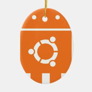 Ubuntudroid del código de la camiseta de Ubuntu Adorno Navideño Ovalado De Cerámica