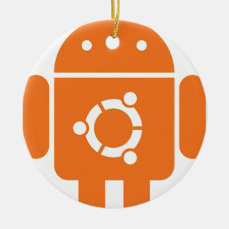 Ubuntudroid del código de la camiseta de Ubuntu Adorno Navideño Redondo De Cerámica