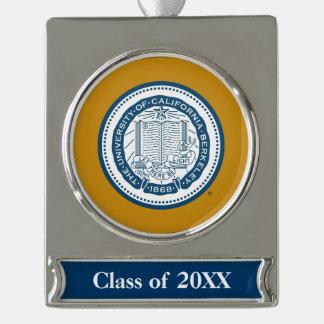 UC Berkeley School Seal Silver Plated Banner Ornament