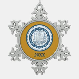 UC Berkeley School Seal Snowflake Pewter Christmas Ornament